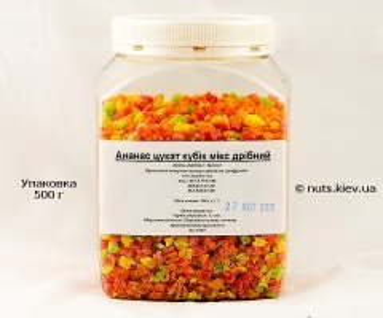 Ананас цукат кубик микс мелкий - Упаковка 500 г