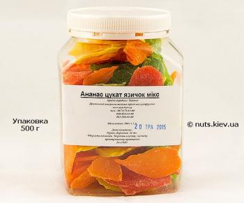 Ананас цукат язычок микс - Упаковка 500 г