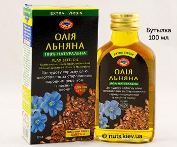 Масло льняное растительное нерафинированное - Бутылка 100 мл