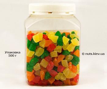 Ананас цукат кубик микс - Упаковка 500 г